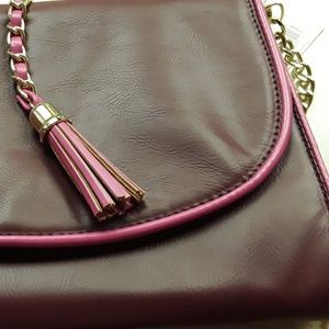 Purse dark red hot pink faux leather  boho